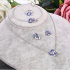 Hot Double Heart Crystal Rhinestone Necklace+Ring+Earrings+Bracelet Jewelry Set