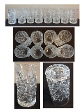 Vintage Drinking Glass Tumblers 14 oz. Heavy Glass Deep Cut Set of 8 Made in USA