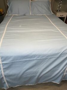 New Matouk Blue Waffle White Eyelet Trim Twin Flat Sheet Coverlet Standard Shams