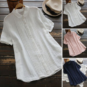 ZANZEA UK Women Peter Pan Collar Short Sleeve Casual Loose Tops Tee Shirt Blouse