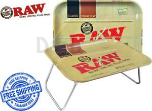 Raw XXL QUALITY Large Rolling Metal Tray Thick Sturdy Folding Legs Smoking