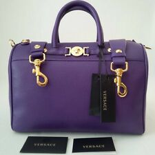 *NEW* GIANNI VERSACE MEDUSA SIGNATURE LEATHER SATCHEL VIOLA ORO MADE IN ITALY