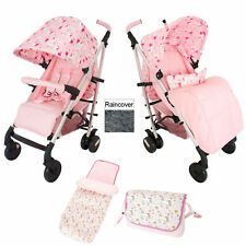 NEW MY BABIIE PINK UNICORNS MB51 PUSHCHAIR STROLLER WITH FOOTMUFF & CHANGING BAG
