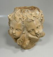 Vintage Signed Hayes Parker Sandstone Four Cherub Angel Candle Holder Pedestal