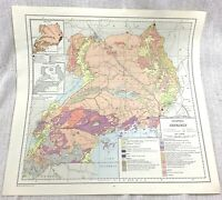 1967 Vintage Map of Uganda Africa Geology Geological Geography Geologist Chart