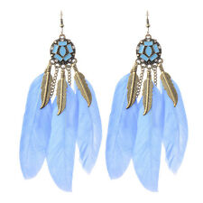 Vintage Bohemian Boho Chain Leaves Feather Crystal Colorful Resin Women Earrings