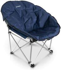 Navaris Folding Moon Chair - Foldable Round Padded Seat for Adults Dark Blue UK