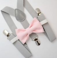 Kids Boys Mens Light Gray Suspenders & Light Pink Bow tie Infant - ADULT SET
