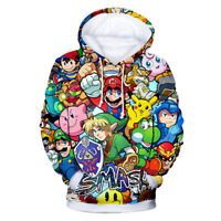 3D Print Men Hoodie Sweater Sweatshirt Cartoon Super Mario Jacket Pullover Tops