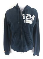 SUPERDRY Womens Hoodie Jacket XS Navy Blue Cotton