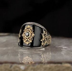 Handmade pure 925 SILVER man rings Onyx stone all sizes jewelry Wedding RRP £40