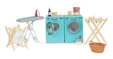 "GIRLS 18"" Doll LAUNDRY ROOM SET w/ Washer Dryer Iron Fits American Girl Age 3+"
