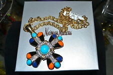 NWT $200 KENNETH JAY LANE Enamel Maltese Cross Pendant Necklace 24 in Rhinestone