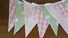LAURA ASHLEY BUNTING  - DOUBLE SIDED Bella butterfly, pink gingham and green dot