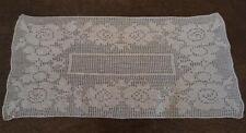 """Vintage Filet Crochet Lace Table Runner Flower Border Ecru 21"""""""