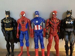 "DC Comics 12"" Action Figure Lot of 5  Batman, Spider-Man , Captain America"