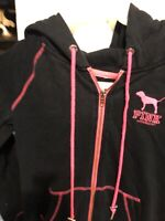 Black Long Sleeve Full Zip Hoodie Victoria's Secret PINK Size Small