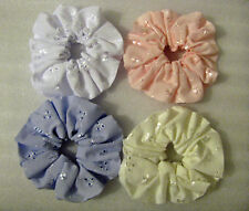 Broderie Anglaise Cotton Hair Scrunchies - Choice of Four Colours