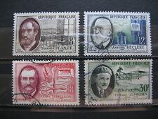 FRANCE oblitérés n° 1095 à 1098  SAVANTS ET INVENTEURS (1957)