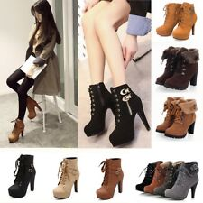 Winter Womens Lace Up Buckle Block High Heels Platform Ankle Boots Martin Shoes