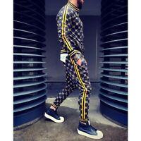 Herren Hip Hop Trainingsanzug 2 Stück Casual Hose Jacke Sweatsuit Sweatshirt Set
