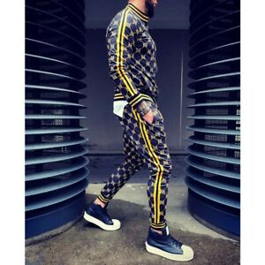 Mens Hip Hop Tracksuit 2 Piece Casual Pants Jacket Sweatsuit Sweatshirt Set