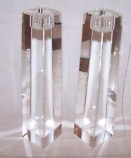 Pair Heavy Crystal Candlesticks Signed Oleg Cassini