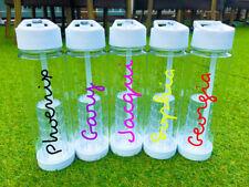 Personalised Custom Bespoke Water Bottle Flip Straw Infuser Gym Name Text Word