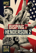 UFC 204 Official Full-Sized Poster BISPING HENDERSON in MANCHESTER UK, 10/8/2016