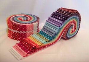 Polka Dot Rainbow Jelly Rolls, Fat Quarters, Quilting & Patchwork Packs JR27