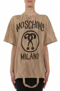 Moschino Double Question Mark Woman's Beige T-shirt