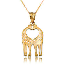 14K Yellow Gold Open Heart Kissing Giraffes Charm Necklace