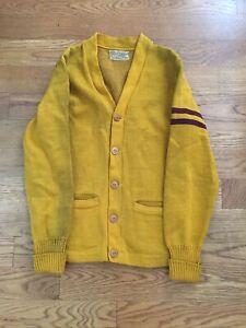 Vintage 50's Cardigan Letterman Yellow Stripe Wool Whiting Los Angeles