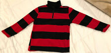 Faded Glory Boys Fleece Pullover Red & Black Stripe Partial Zip-Up (Sz 7)