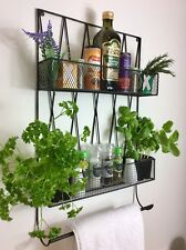 Vintage Style Wire Kitchen Wall Shelf Unit Storage Basket Spice Rack Towel Rail