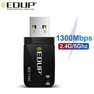 EDUP 1300Mbps Mini USB3.0 Wifi Network Card Adapter Dual Band 5.8G/2.4GHz Laptop