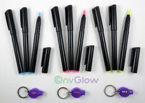 9 Invisible Ink Marker 3 UV Flashlight Black Light Reactive Pen Red Blue Yellow