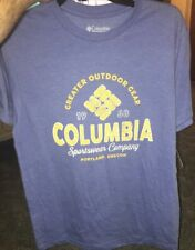 """Nwt Men's Columbia Sportswear T-shirt """"Greater Outdoor Gear"""". Size Small/blue"""