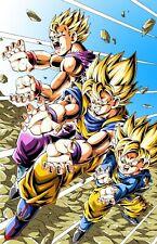 Dragon Ball Z Super Poster Goku Gohan Goten Father Sons Kamehameha - 11x17 13x19