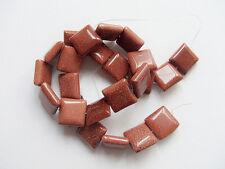 2pz perline  in pietra del sole quadrato 16mm colore marrone