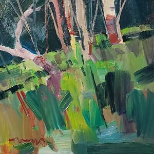 JOSE TRUJILLO Oil Painting IMPRESSIONISM LANDSCAPE WOODS COLLECTIBLE ARTIST