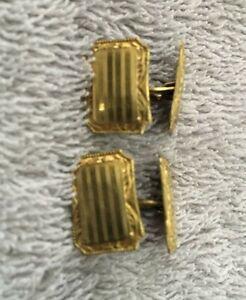 ANTIQUE EDWARDIAN ENGRAVED PAIR CUFFLINKS 14K YELLOW GOLD FILLED PLATINUM S&S