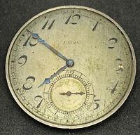 Elgin grade 345 Pocket Watch Movement 12s 17j OPenface Model 3 Partial F5495