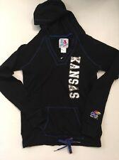 NCAA Kansas Jay Hawks Womens Black Bling Hoodie Size Small