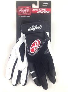 Rawling Batting Gloves Youth Size Medium Black & White 1 Pair Model BGP220 NWT