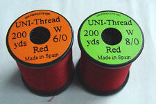 1 x 50 yards Fil montage ROUGE 6-0/8-0 truite mouche fly tying thread red