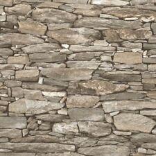3D Realistic Brick Effect Wallpaper Stone Slate Rustic Weathered Debona Beige