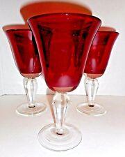 3 Cranberry Ruby Red Goblet Wine Glasses Water Stemware Blown Glass Vtg Set  #36