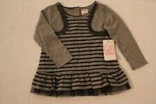 New Baby Girls Shirt Size 24 Months Top Gray Black Striped Tunic Dressy