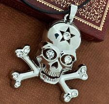 Men's Personalized Diamond Silver-Plated pirate Skull Pendant Chain Necklace DC5